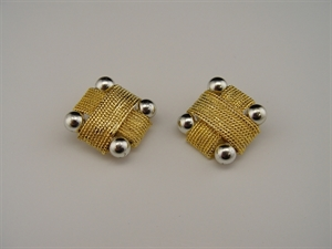 Picture of 1980s Pair of Gold Tone Metal Earrings Accented with Four Silver Tone Balls