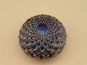 Picture of Beautiful Levay Levi Carnival Glass Paperweight Done In A Honeycomb Pattern.